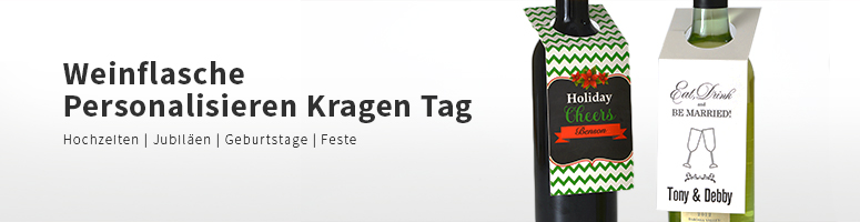Weinflasche Personalisieren mit Kragen oder Tag