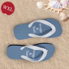 Personalisierte Strandsandalen Damen Größe XL 42-43 EIN BILD Weiß