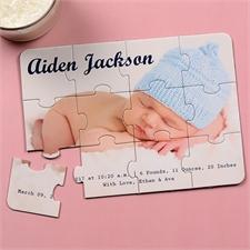 Es ist ein Junge Babyshower Puzzle 12,7 x 17,8 cm Foto Text Querformat