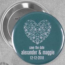 Blumenherz Hochzeit Button 76mm
