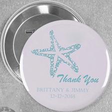 Blauer Seestern Hochzeit Button 76mm Personalisiert