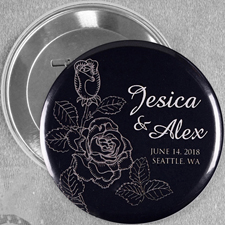 Elegante Rose Save The Date  Hochzeitsbutton 76mm