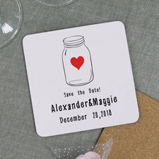 Glas Save the Date Bierdeckel Personalisieren