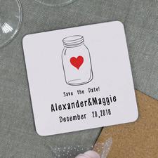 Glas Save the Date Bierdeckel Personalisieren