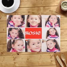 Collage Rot 8 Fotos, Personalisierter Tischset