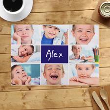 Collage Blau 8 Fotos, Personalisierter Tischset