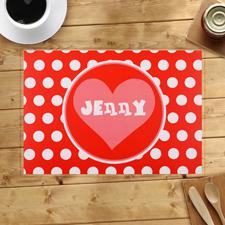 Herz mit weißen Punkten in Rot Personalisierte Platzdeckchen