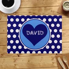 Herz mit weißen Punkten in Blau Personalisierte Platzdeckchen