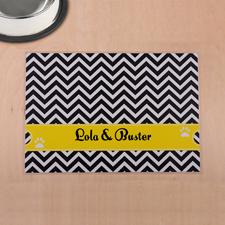 Streifen Schwarz und Gelb Winkelmuster Futterstelle Personalisieren