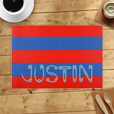 Streifen Rot Blau Personalisierter Tischset