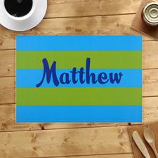 Streifen Blau Grün Personalisierter Tischset