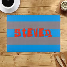 Streifen Blau Grau Personalisierter Tischset