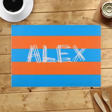 Streifen Blau Orange Personalisierter Tischset