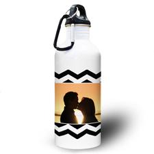 Zickzack Schwarz Wasserflasche personalisieren