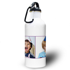 Collage Zwei Fotos Lila Zwei Textboxen Wasserflasche zum Personalisieren