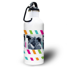 Bunte Streifen Collage Drei Fotos Textbox Wasserflasche
