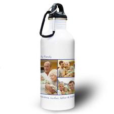Collage Drei Fotos Dunkelblau Zwei Textboxen Wasserflasche zum Personalisieren
