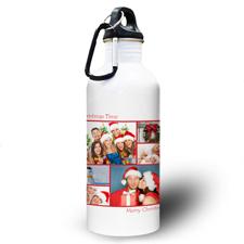 Collage Sechs Fotos Rot Zwei Textboxen Wasserflasche zum Personalisieren