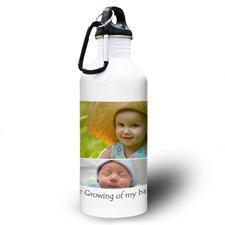 Collage Vier Fotos Weiß Textbox Wasserflasche