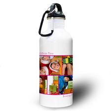 Collage Fünf Fotos Pink Zwei Textboxen Wasserflasche zum Personalisieren