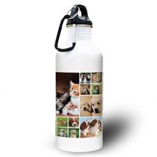 Collage 18 Fotos Weiß Wasserflasche für Spiel Sport und Hort