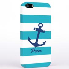 Anker Blau mit Türkis Streifen iPhone5 Case