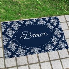Blau Vintage Personalisierte Fußmatte mit Namen