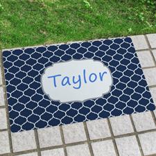 Blau Marrokanische Fließen Fußmatte Personalisieren