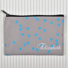 Hellblaus Punkte Kosmetiktasche 15,2 x 22,9 cm Personalisieren