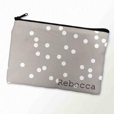 Weiße Punkte Kosmetiktasche 15,2 x 22,9 cm Personalisieren