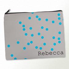 Hellblaue Punkte Kosmetiktasche 27,9 x 35,6 cm Personalisieren