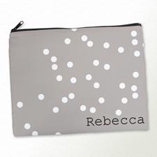 Weiße Punkte Kosmetiktasche 27,9 x 35,6 cm Personalisieren