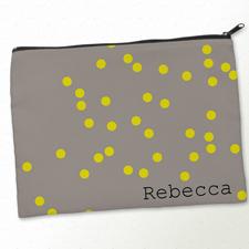 Beiger Zipp Gelbe Punkte Kosmetiktasche 24,1 x 33,0 cm