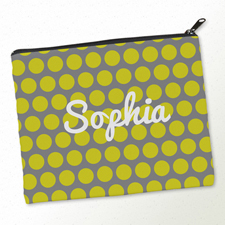 Gelbe Große Punkte Kosmetiktasche Mein Design 20,3 x 25,4 cm