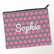 Pinke Große Punkte Kosmetiktasche Mein Design 20,3 x 25,4 cm
