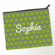 Grüne Große Punkte Kosmetiktasche Mein Design 20,3 x 25,4 cm