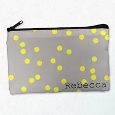 Gelbe Kleine Punkte Kosmetiktasche 12,7 x 20,3 cm Beidseitig gleich Personalisieren