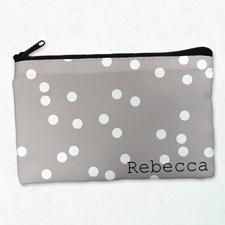 Weiße Kleine Punkte Kosmetiktasche 12,7 x 20,3 cm Beidseitig gleich Personalisieren