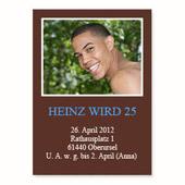 Geburtstagseinladung, 12,7 cm x 17,8 cm,  einfache Karte, Schoko