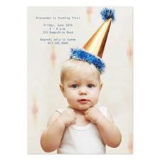 Geburtstagseinladung, Vollbild Hochformat, 12,7 cm x 17,8 cm,  einfache Karte