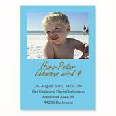 Geburtstagseinladung, 12,7 cm x 17,8 cm,  einfache Karte, Babyblau