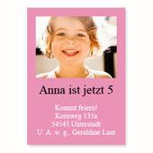 Geburtstagseinladung, 12,7 cm x 17,8 cm,  einfache Karte, Rosa