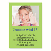 Geburtstagseinladung, 12,7 cm x 17,8 cm,  einfache Karte, Lindgrün