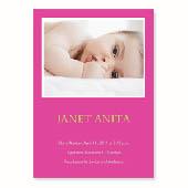Baby-ist-da, 12,7 cm x 17,8 cm, einfache Karte, Pink
