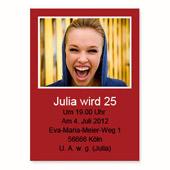 Geburtstagseinladung, 12,7 cm x 17,8 cm,  einfache Karte, Rot