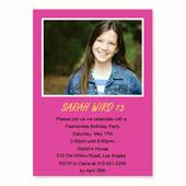 Geburtstagseinladung, 12,7 cm x 17,8 cm,  einfache Karte, Pink