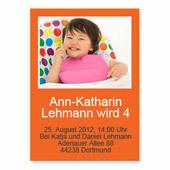 Geburtstagseinladung, 12,7 cm x 17,8 cm,  einfache Karte, Orange