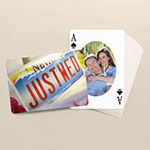 Ovales Portrait Rückseite Querformat Personalisierte Foto-Spielkarten