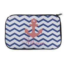 Navy Blaue Wellen Roter Anker Kosmetiktasche 15,2 x 25,4  cm