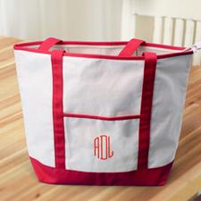 Rote Bestickte Große Stofftasche mit 3 Buchstaben und Reißverschluss